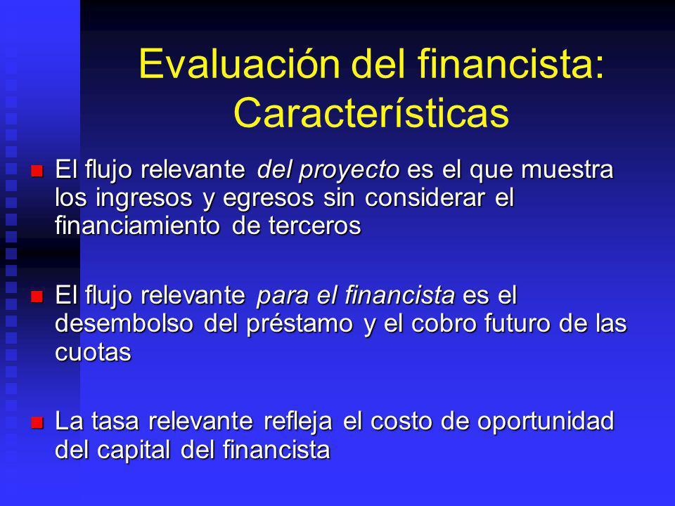 Evaluación privada: Características El flujo de fondos considera todos los costos y beneficios relevantes para el dueño del proyecto El flujo de fondo