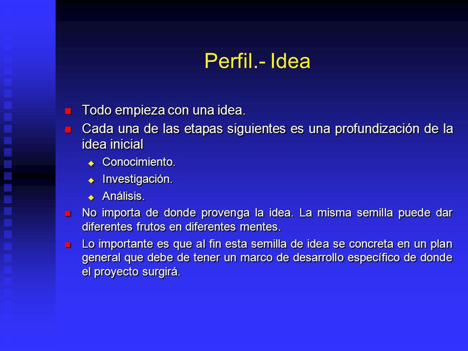 Perfil El nivel más simple de la evaluación (gran visión/identificación idea) El nivel más simple de la evaluación (gran visión/identificación idea) I