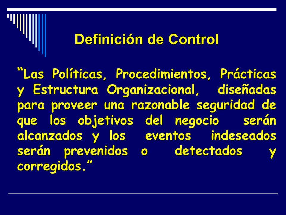 Definición de Control Las Políticas, Procedimientos, Prácticas y Estructura Organizacional, diseñadas para proveer una razonable seguridad de que los