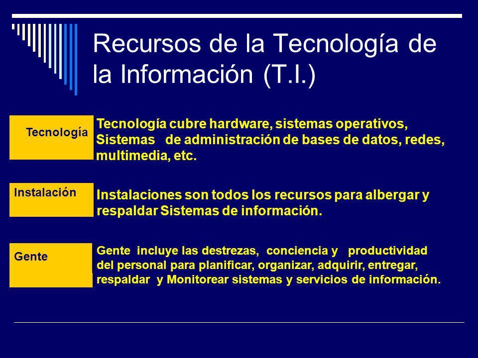 Recursos de la Tecnología de la Información (T.I.) Tecnología Tecnología cubre hardware, sistemas operativos, Sistemas de administración de bases de d