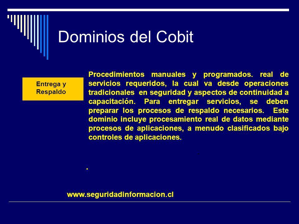 Dominios del Cobit.. Entrega y Respaldo Procedimientos manuales y programados. real de servicios requeridos, la cual va desde operaciones tradicionale