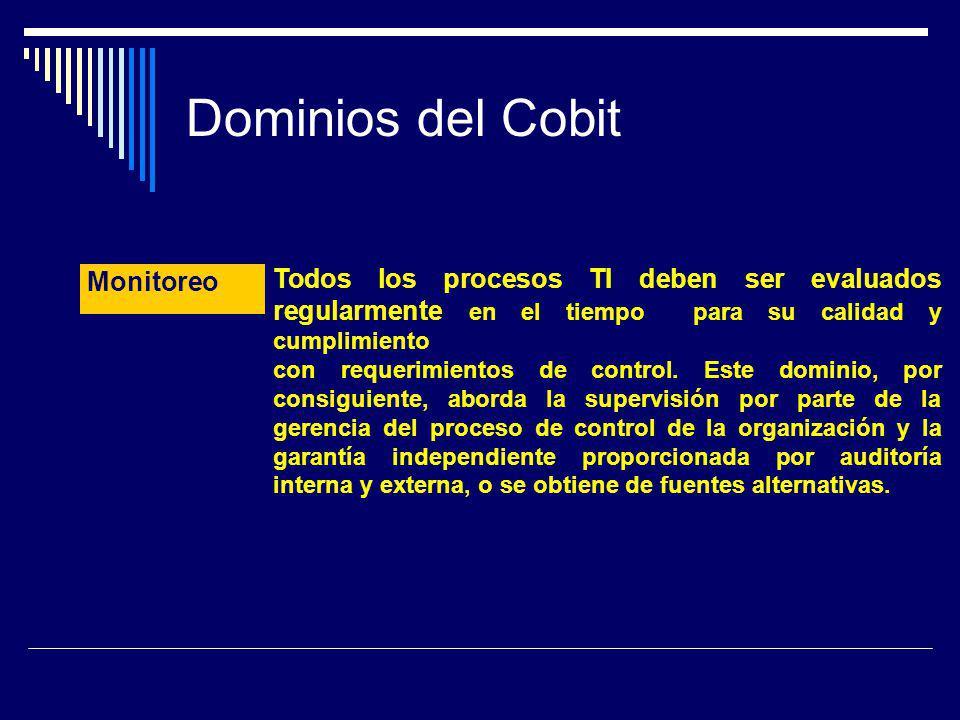 Dominios del Cobit Todos los procesos TI deben ser evaluados regularmente en el tiempo para su calidad y cumplimiento con requerimientos de control. E