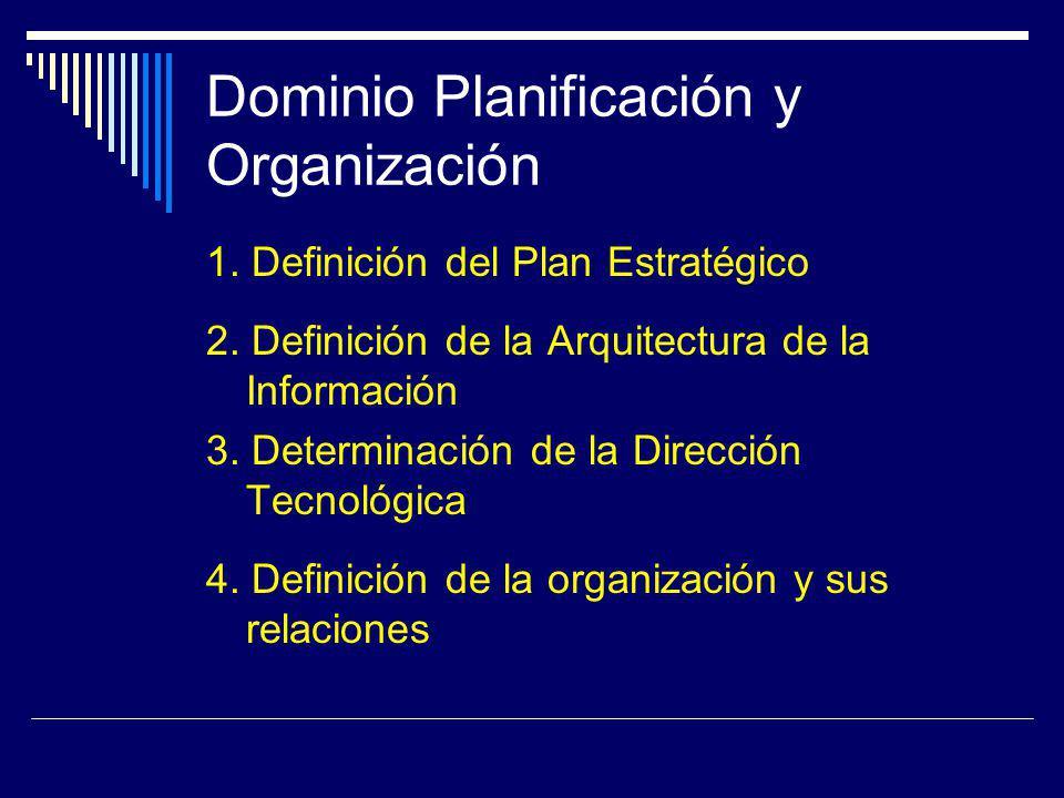 Dominio Planificación y Organización 1. Definición del Plan Estratégico 2. Definición de la Arquitectura de la Información 3. Determinación de la Dire