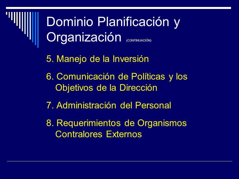 Dominio Planificación y Organización ( CONTINUACIÓN) 5. Manejo de la Inversión 6. Comunicación de Políticas y los Objetivos de la Dirección 7. Adminis