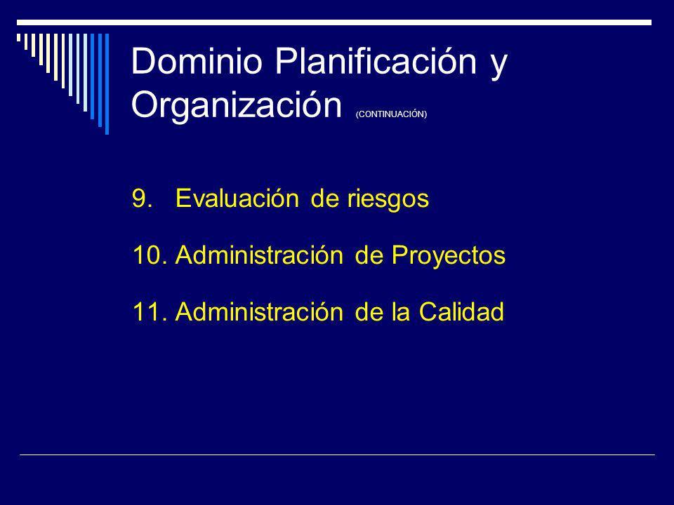 Dominio Planificación y Organización ( CONTINUACIÓN) 9. Evaluación de riesgos 10. Administración de Proyectos 11. Administración de la Calidad