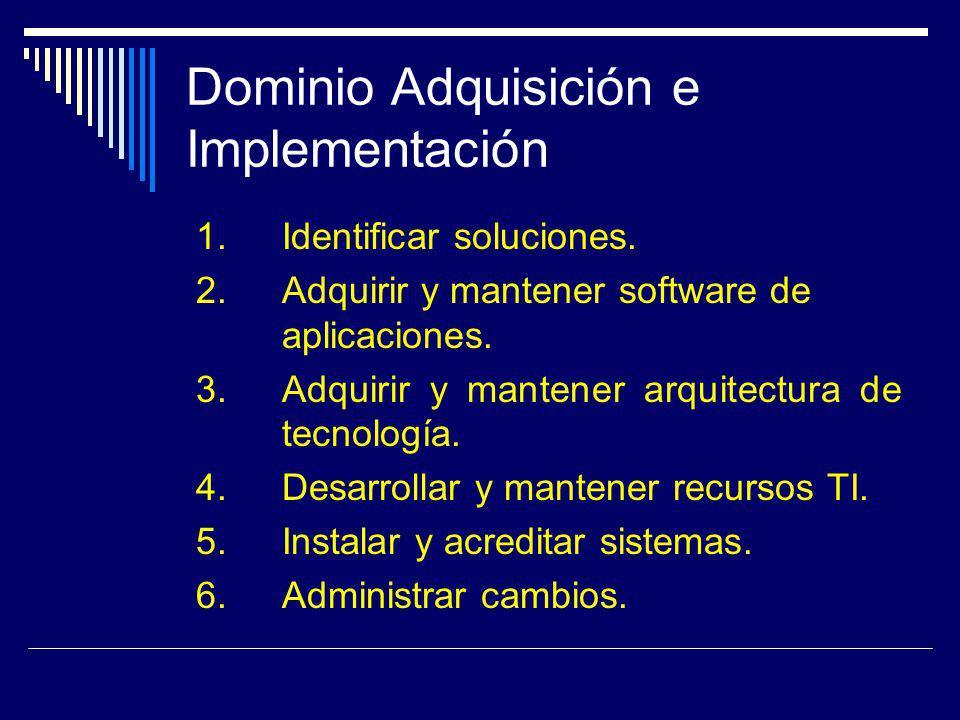 Dominio Adquisición e Implementación 1. Identificar soluciones. 2. Adquirir y mantener software de aplicaciones. 3. Adquirir y mantener arquitectura d