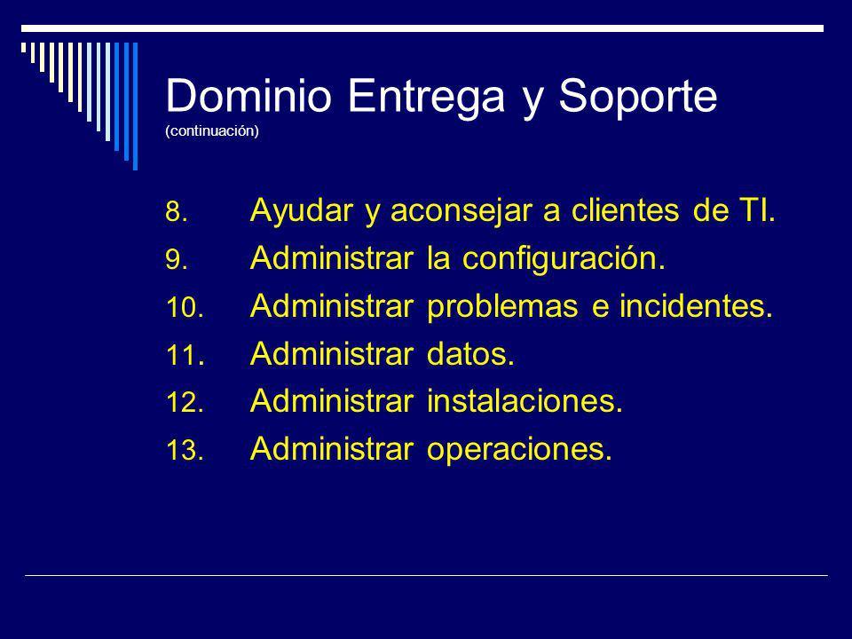 Dominio Entrega y Soporte (continuación) 8. Ayudar y aconsejar a clientes de TI. 9. Administrar la configuración. 10. Administrar problemas e incident