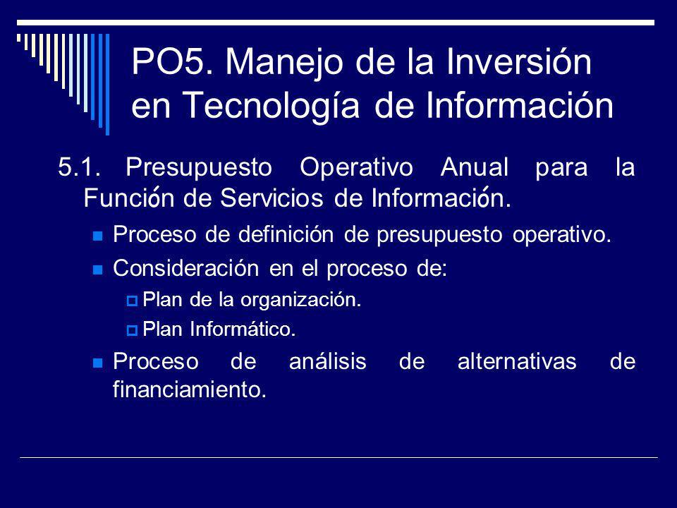 PO5. Manejo de la Inversión en Tecnología de Información 5.1.Presupuesto Operativo Anual para la Funci ó n de Servicios de Informaci ó n. Proceso de d