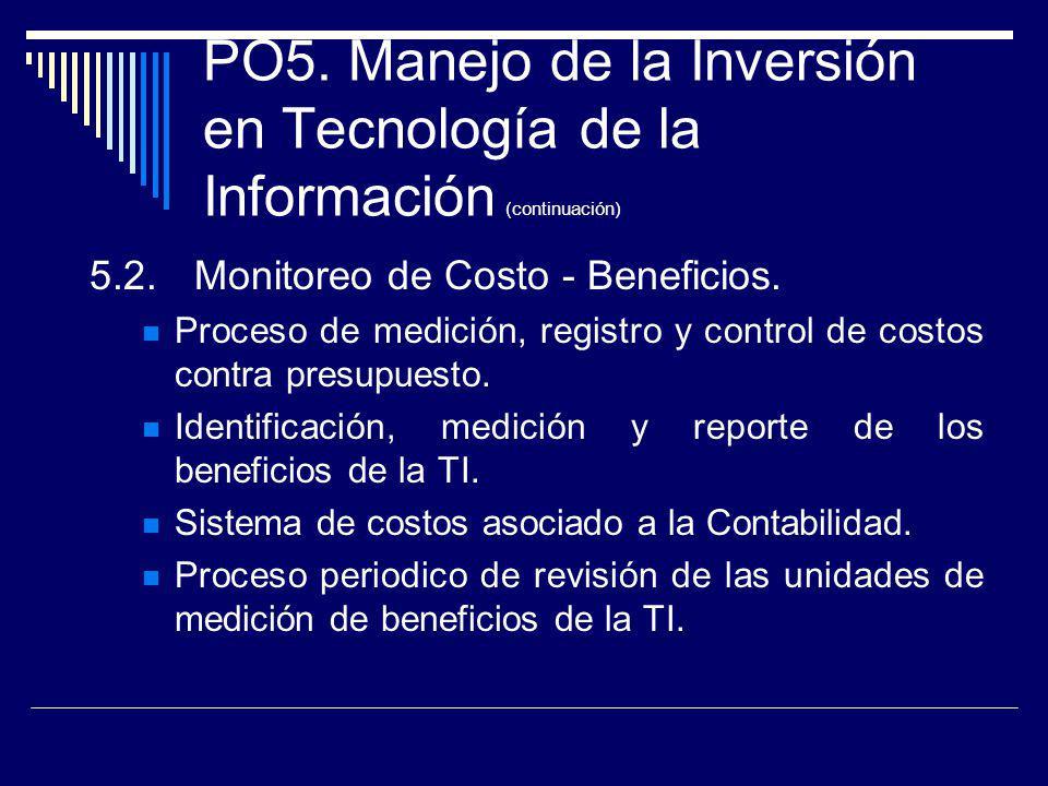PO5. Manejo de la Inversión en Tecnología de la Información (continuación) 5.2.Monitoreo de Costo - Beneficios. Proceso de medición, registro y contro