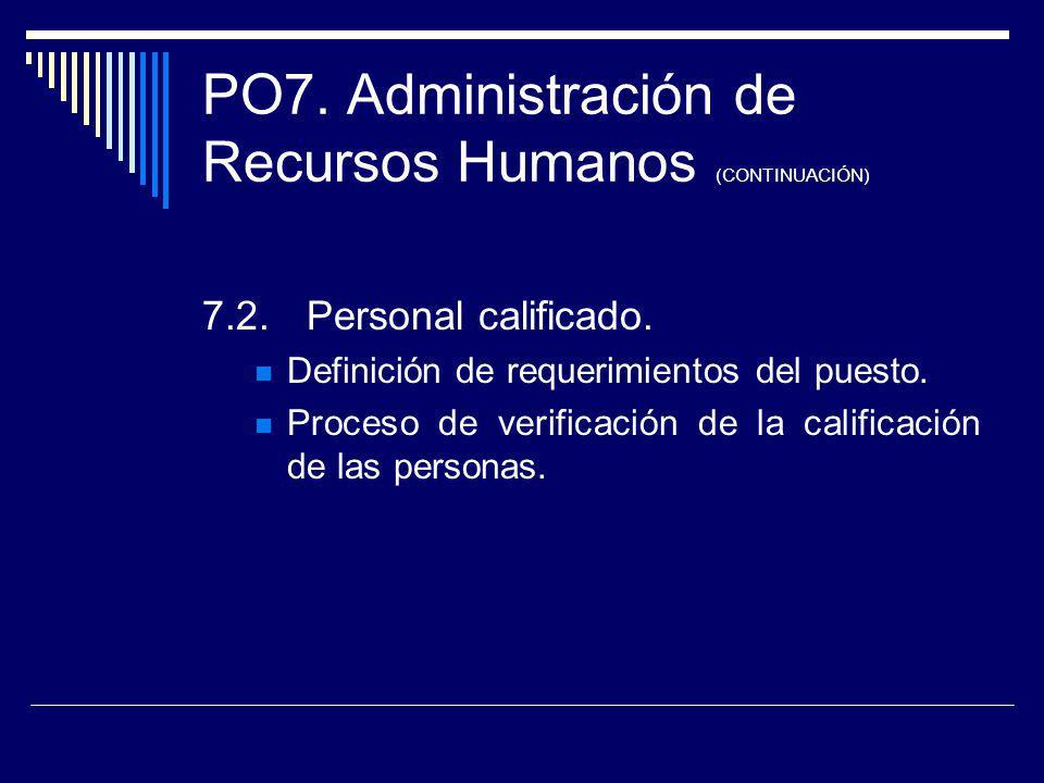PO7. Administración de Recursos Humanos (CONTINUACIÓN) 7.2.Personal calificado. Definición de requerimientos del puesto. Proceso de verificación de la