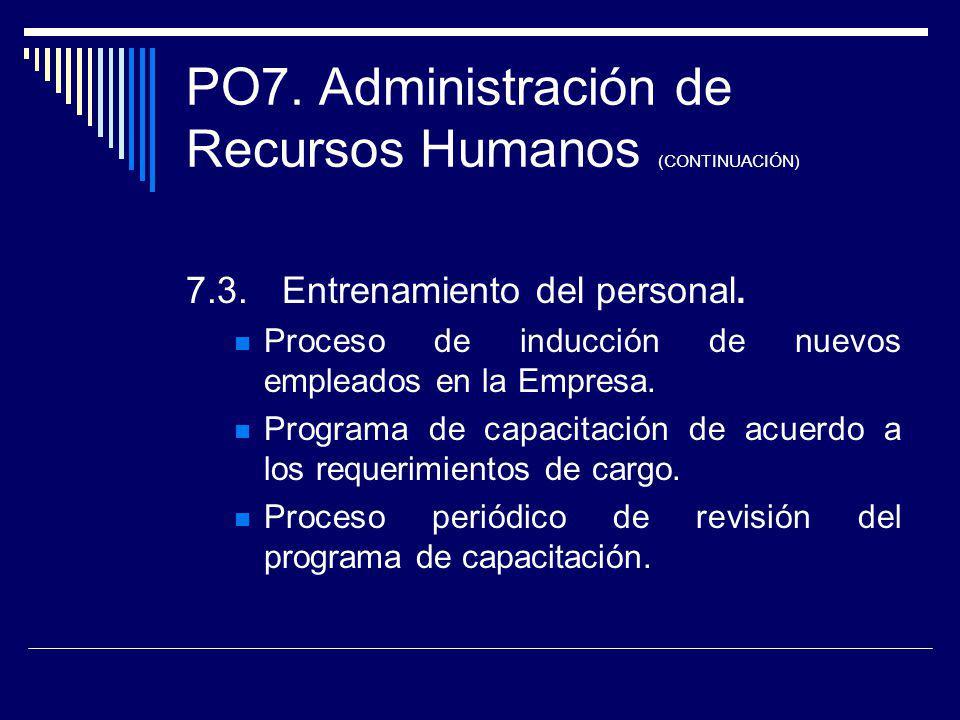 PO7. Administración de Recursos Humanos (CONTINUACIÓN) 7.3.Entrenamiento del personal. Proceso de inducción de nuevos empleados en la Empresa. Program
