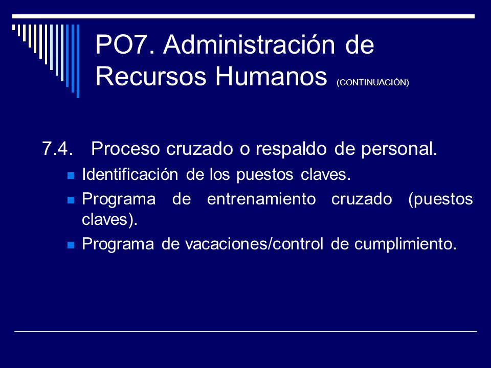 PO7. Administración de Recursos Humanos (CONTINUACIÓN) 7.4.Proceso cruzado o respaldo de personal. Identificación de los puestos claves. Programa de e