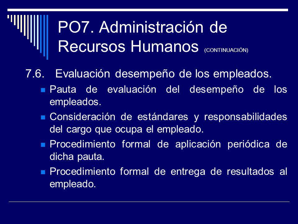 PO7. Administración de Recursos Humanos (CONTINUACIÓN) 7.6.Evaluación desempeño de los empleados. Pauta de evaluación del desempeño de los empleados.