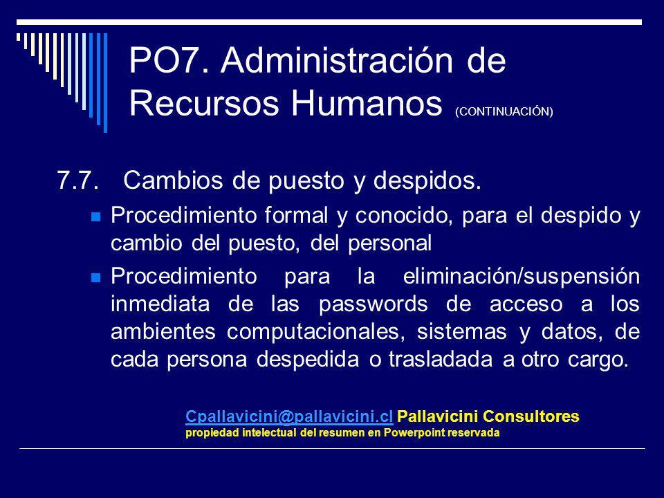 PO7. Administración de Recursos Humanos (CONTINUACIÓN) 7.7.Cambios de puesto y despidos. Procedimiento formal y conocido, para el despido y cambio del