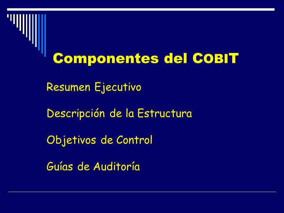 Componentes del C OBI T Componentes del C OBI T Resumen Ejecutivo Descripción de la Estructura Objetivos de Control Guías de Auditoría