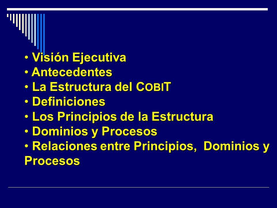 Visión Ejecutiva Visión Ejecutiva Antecedentes Antecedentes La Estructura del C OBI T La Estructura del C OBI T Definiciones Definiciones Los Principi