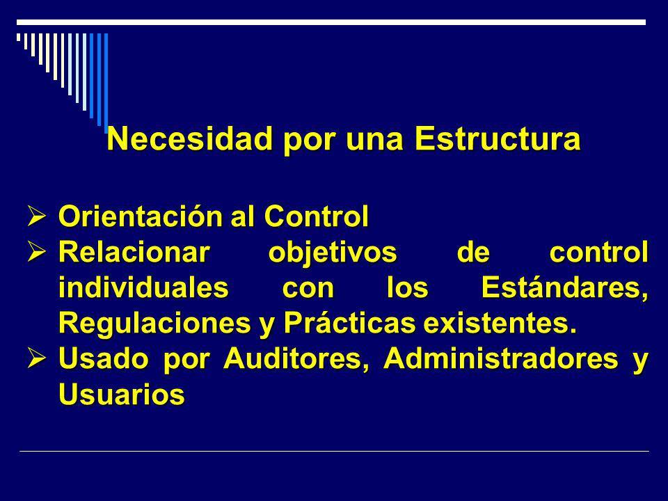 Necesidad por una Estructura Orientación al Control Orientación al Control Relacionar objetivos de control individuales con los Estándares, Regulacion
