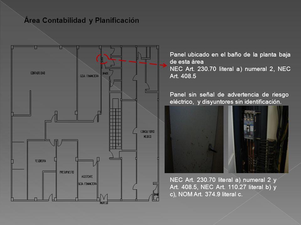 Área Contabilidad y Planificación Panel ubicado en el baño de la planta baja de esta área NEC Art.