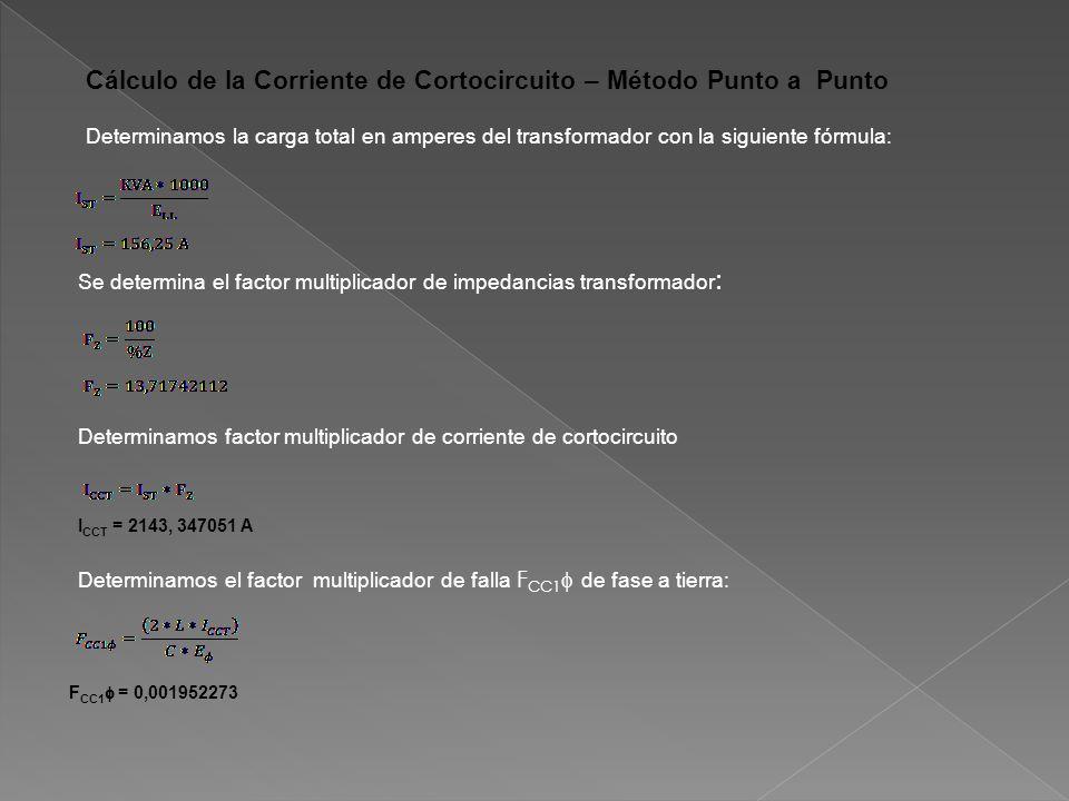 Cálculo de la Corriente de Cortocircuito – Método Punto a Punto Determinamos la carga total en amperes del transformador con la siguiente fórmula: Se determina el factor multiplicador de impedancias transformador : Determinamos factor multiplicador de corriente de cortocircuito I CCT = 2143, 347051 A Determinamos el factor multiplicador de falla F CC1 de fase a tierra: F CC1 = 0,001952273