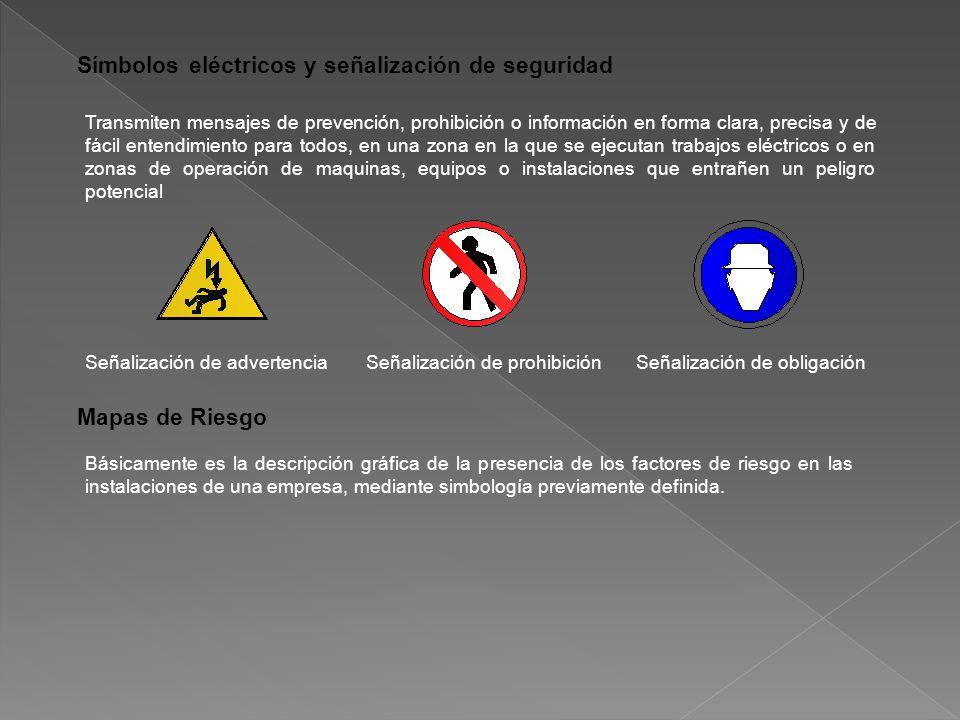 Símbolos eléctricos y señalización de seguridad Transmiten mensajes de prevención, prohibición o información en forma clara, precisa y de fácil entendimiento para todos, en una zona en la que se ejecutan trabajos eléctricos o en zonas de operación de maquinas, equipos o instalaciones que entrañen un peligro potencial Señalización de advertenciaSeñalización de prohibiciónSeñalización de obligación Mapas de Riesgo Básicamente es la descripción gráfica de la presencia de los factores de riesgo en las instalaciones de una empresa, mediante simbología previamente definida.