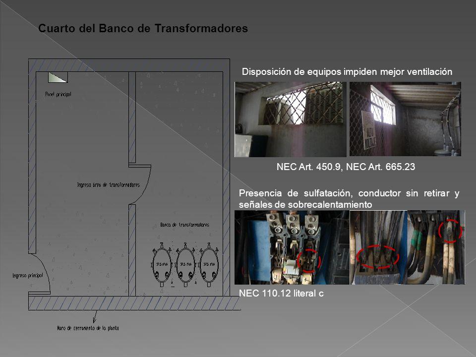 Cuarto del Banco de Transformadores Disposición de equipos impiden mejor ventilación NEC Art.