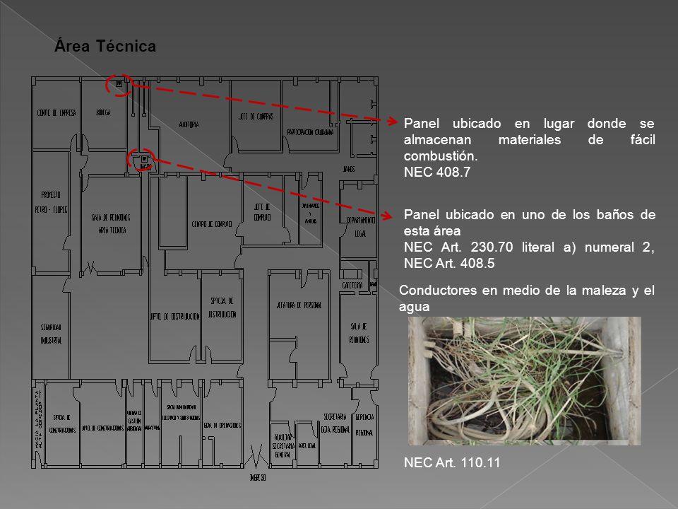 Área Técnica Panel ubicado en lugar donde se almacenan materiales de fácil combustión.