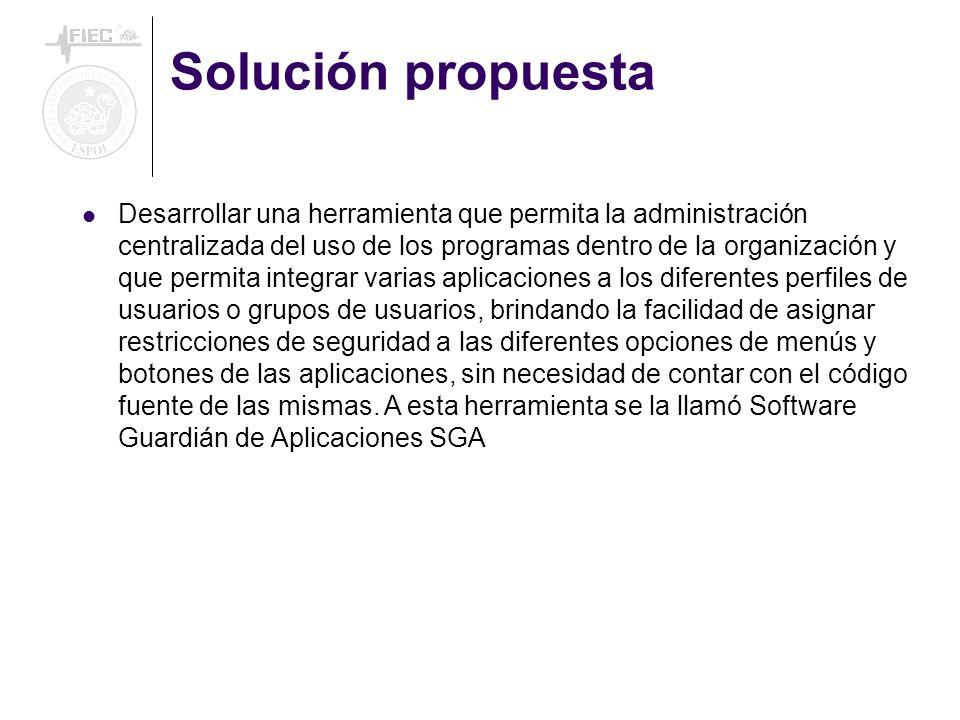 Solución propuesta Desarrollar una herramienta que permita la administración centralizada del uso de los programas dentro de la organización y que per