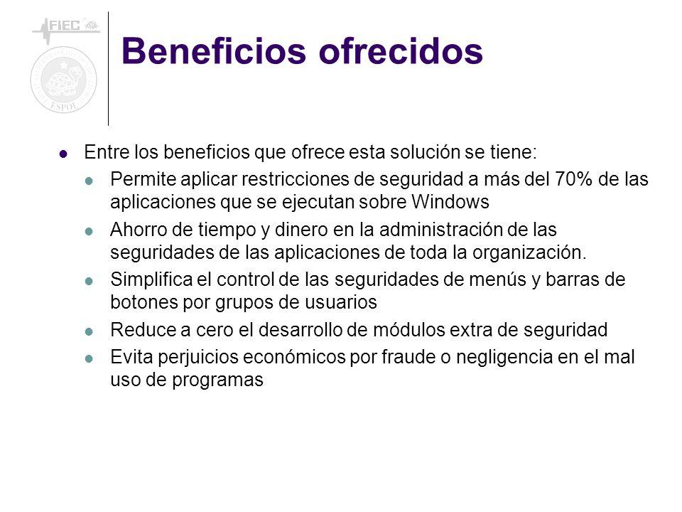 Beneficios ofrecidos Entre los beneficios que ofrece esta solución se tiene: Permite aplicar restricciones de seguridad a más del 70% de las aplicacio