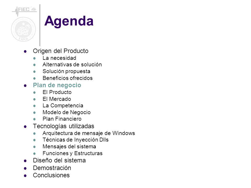 Agenda Origen del Producto La necesidad Alternativas de solución Solución propuesta Beneficios ofrecidos Plan de negocio El Producto El Mercado La Com