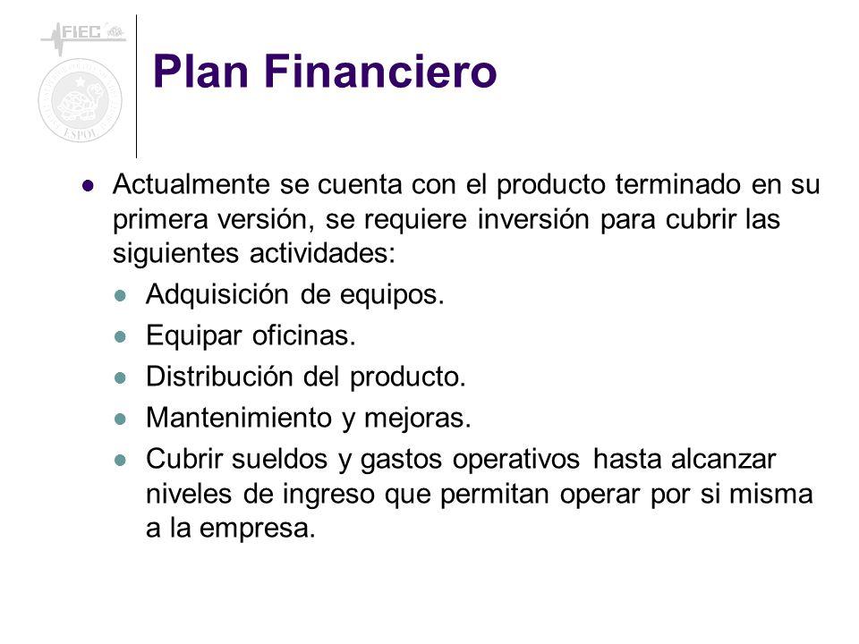 Plan Financiero Actualmente se cuenta con el producto terminado en su primera versión, se requiere inversión para cubrir las siguientes actividades: Adquisición de equipos.