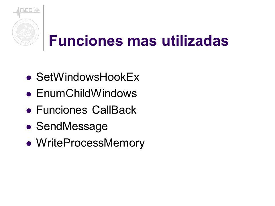 Funciones mas utilizadas SetWindowsHookEx EnumChildWindows Funciones CallBack SendMessage WriteProcessMemory