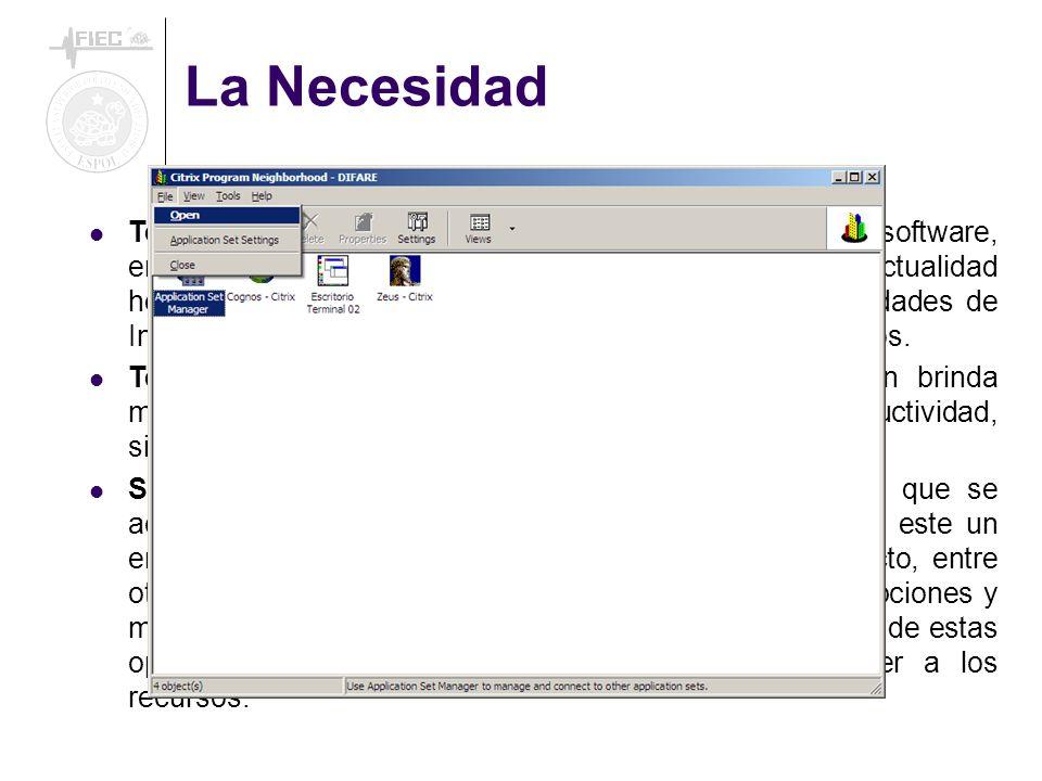 La Necesidad Tecnología de Información. Redes de computadoras, software, enlaces de datos, bases de datos son en la actualidad herramientas esenciales