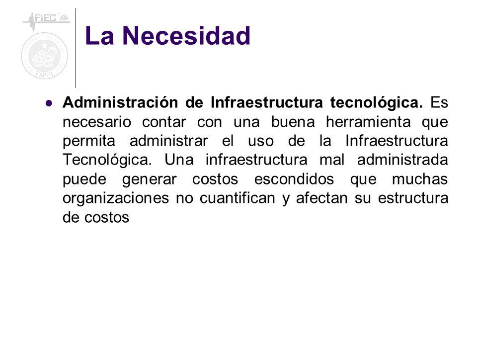 La Necesidad Administración de Infraestructura tecnológica. Es necesario contar con una buena herramienta que permita administrar el uso de la Infraes
