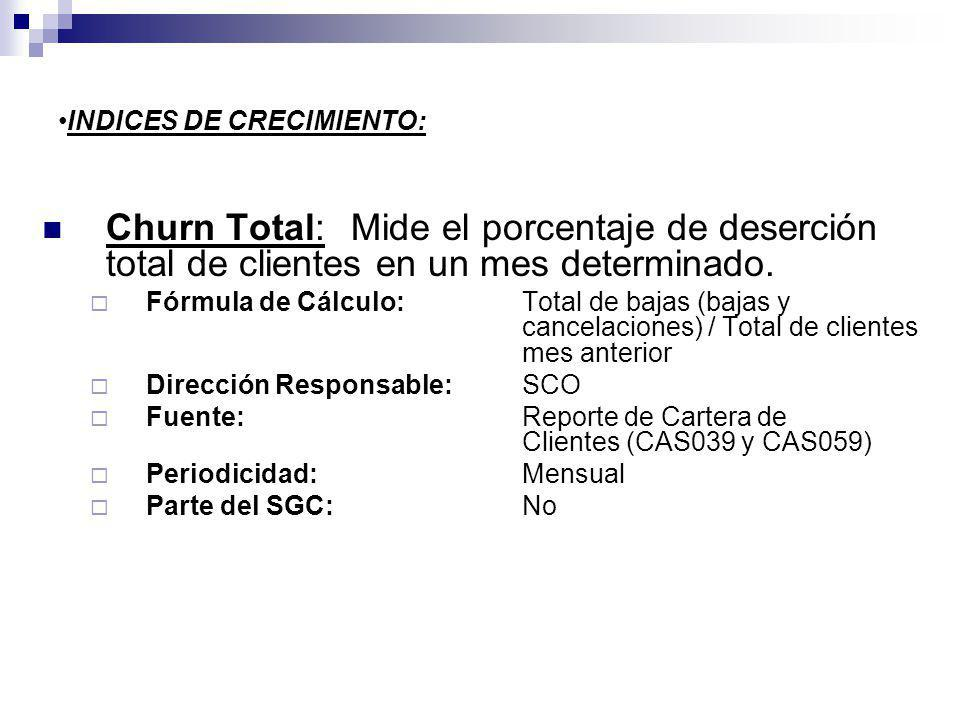 INDICES DE CRECIMIENTO: Churn Total: Mide el porcentaje de deserción total de clientes en un mes determinado. Fórmula de Cálculo:Total de bajas (bajas
