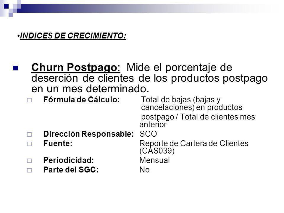 INDICES DE CRECIMIENTO: Churn Postpago: Mide el porcentaje de deserción de clientes de los productos postpago en un mes determinado. Fórmula de Cálcul