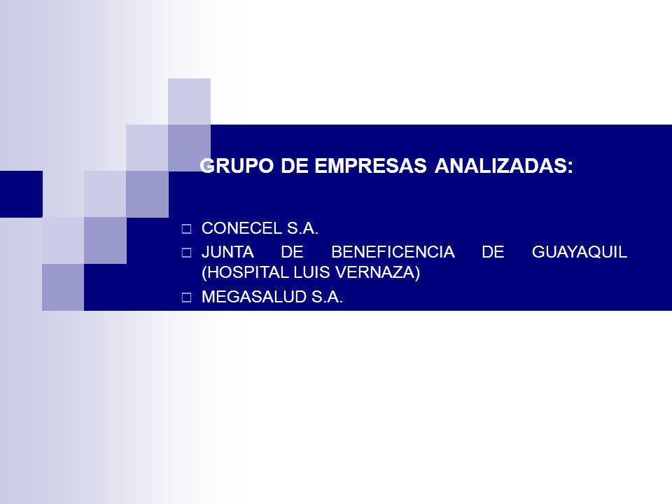 GRUPO DE EMPRESAS ANALIZADAS: CONECEL S.A. JUNTA DE BENEFICENCIA DE GUAYAQUIL (HOSPITAL LUIS VERNAZA) MEGASALUD S.A.