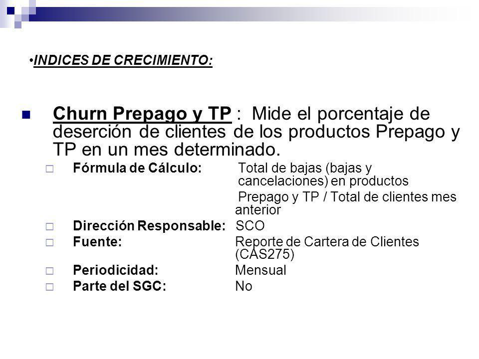 INDICES DE CRECIMIENTO: Churn Prepago y TP : Mide el porcentaje de deserción de clientes de los productos Prepago y TP en un mes determinado. Fórmula