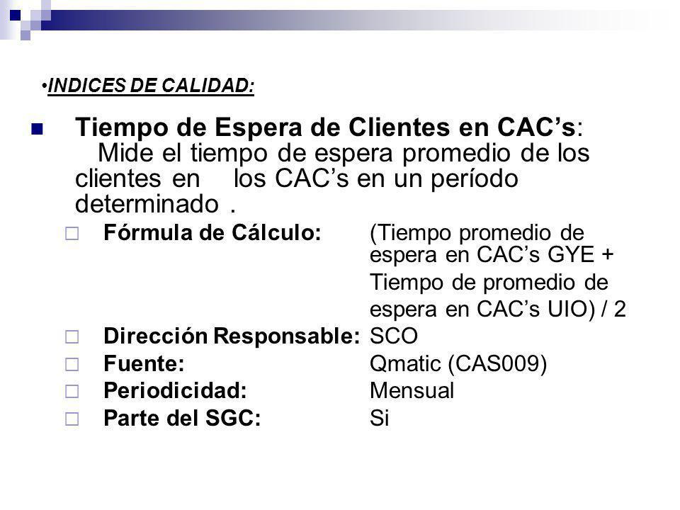 INDICES DE CALIDAD: Tiempo de Espera de Clientes en CACs: Mide el tiempo de espera promedio de los clientes enlos CACs en un período determinado. Fórm
