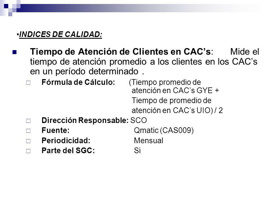 INDICES DE CALIDAD: Tiempo de Atención de Clientes en CACs: Mide el tiempo de atención promedio a los clientes en los CACs en un período determinado.