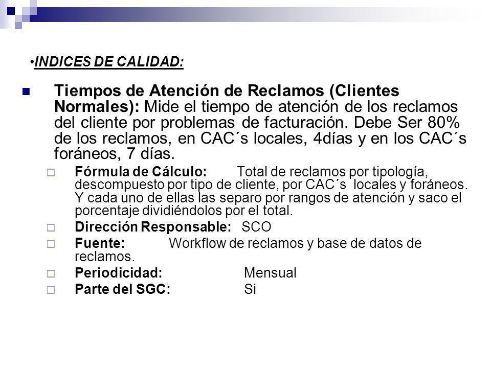 INDICES DE CALIDAD: Tiempos de Atención de Reclamos (Clientes Normales): Mide el tiempo de atención de los reclamos del cliente por problemas de factu