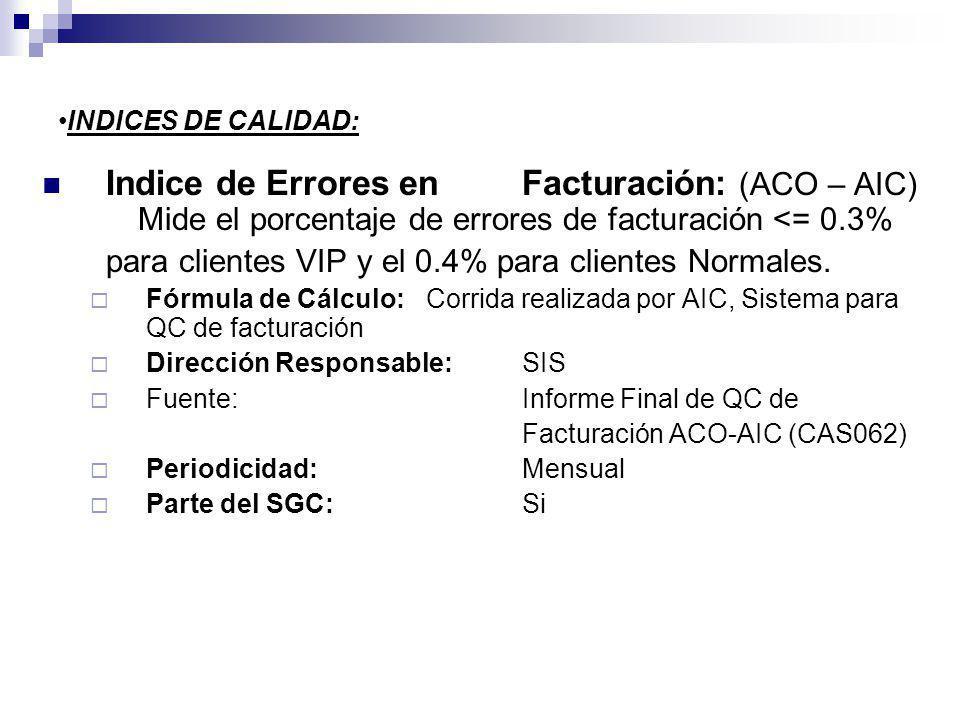INDICES DE CALIDAD: Indice de Errores enFacturación: (ACO – AIC) Mide el porcentaje de errores de facturación <= 0.3% para clientes VIP y el 0.4% para