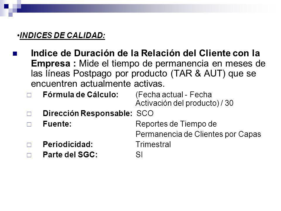 INDICES DE CALIDAD: Indice de Duración de la Relación del Cliente con la Empresa : Mide el tiempo de permanencia en meses de las líneas Postpago por producto (TAR & AUT) que se encuentren actualmente activas.