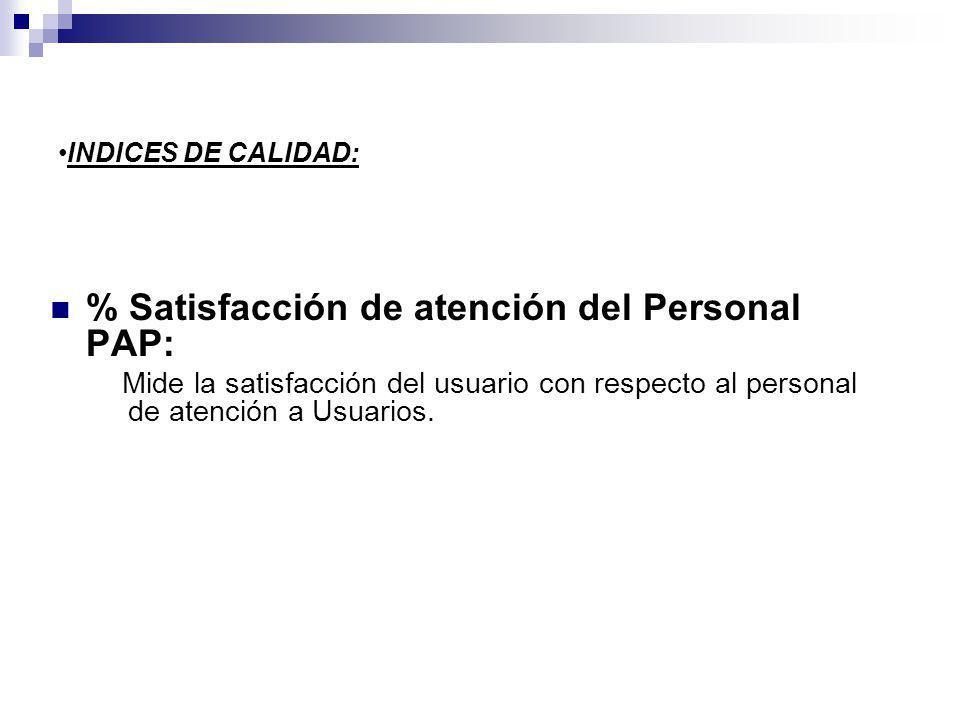 INDICES DE CALIDAD: % Satisfacción de atención del Personal PAP: Mide la satisfacción del usuario con respecto al personal de atención a Usuarios.