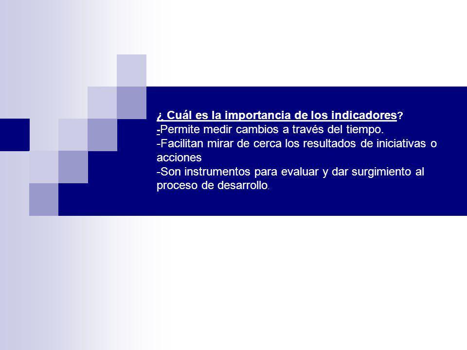 ¿ Cuál es la importancia de los indicadores ? - Permite medir cambios a través del tiempo. -Facilitan mirar de cerca los resultados de iniciativas o a