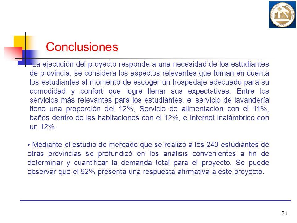 21 Conclusiones La ejecución del proyecto responde a una necesidad de los estudiantes de provincia, se considera los aspectos relevantes que toman en
