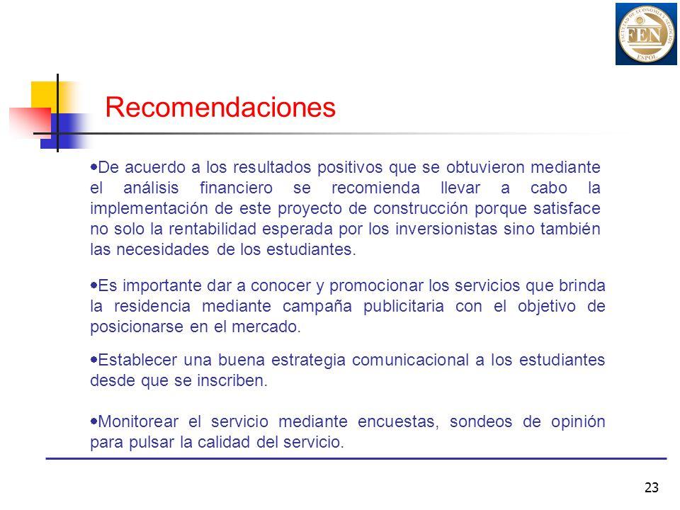 23 Recomendaciones De acuerdo a los resultados positivos que se obtuvieron mediante el análisis financiero se recomienda llevar a cabo la implementaci