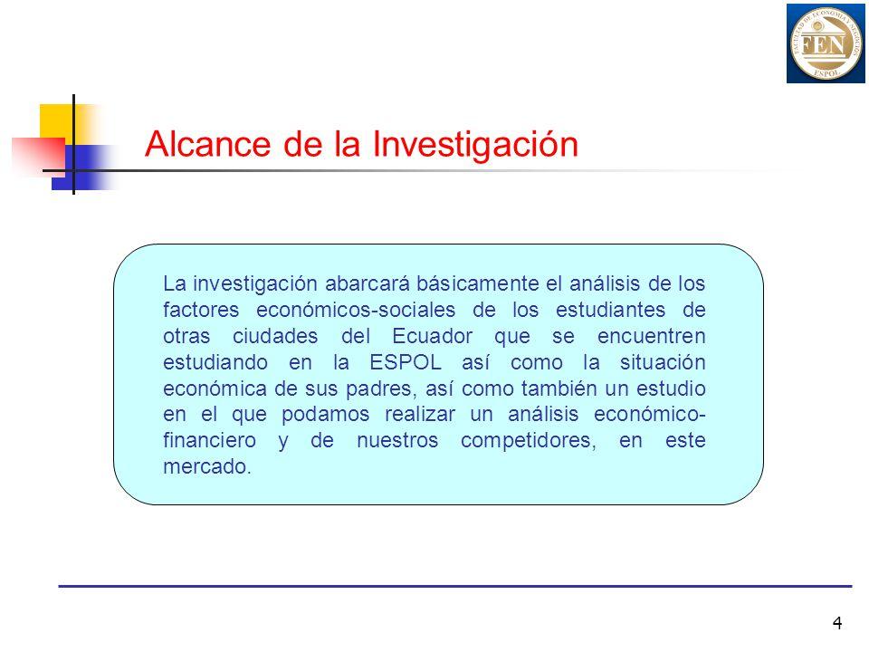 4 Alcance de la Investigación La investigación abarcará básicamente el análisis de los factores económicos-sociales de los estudiantes de otras ciudad