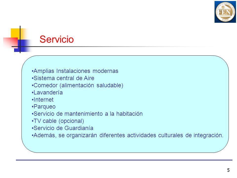 5 Servicio Amplias Instalaciones modernas Sistema central de Aire Comedor (alimentación saludable) Lavandería Internet Parqueo Servicio de mantenimien