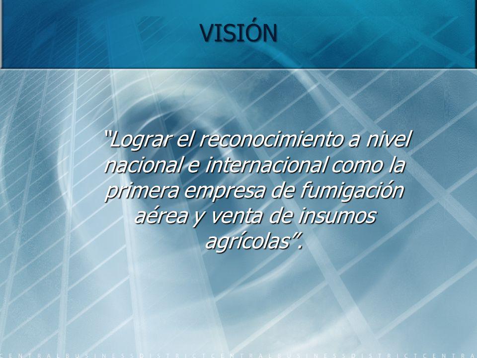 VISIÓN Lograr el reconocimiento a nivel nacional e internacional como la primera empresa de fumigación aérea y venta de insumos agrícolas. Lograr el r