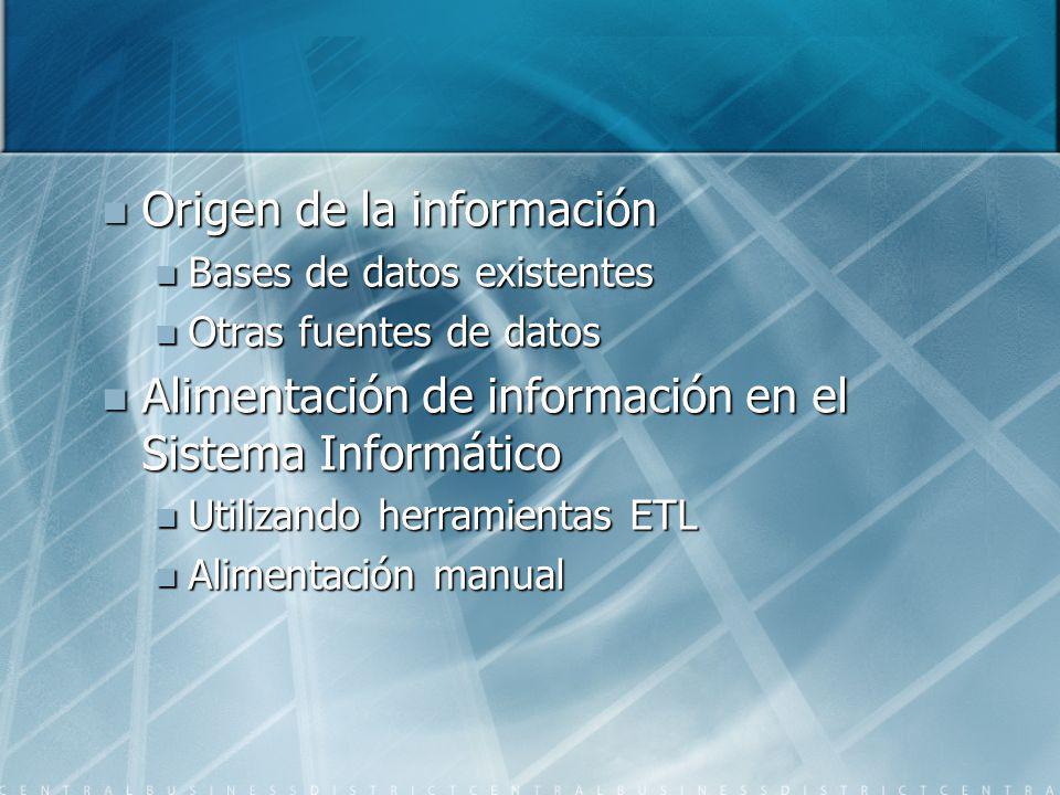 Origen de la información Origen de la información Bases de datos existentes Bases de datos existentes Otras fuentes de datos Otras fuentes de datos Al
